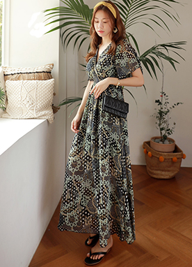 Luxury Chain and Dots Print Maxi Wrap Dress, Styleonme