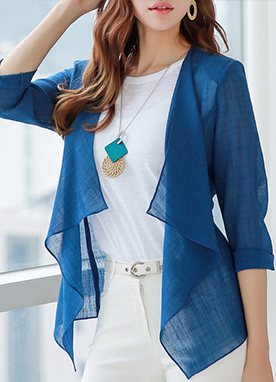 Drape Detail Summer Cardigan Jacket, Styleonme