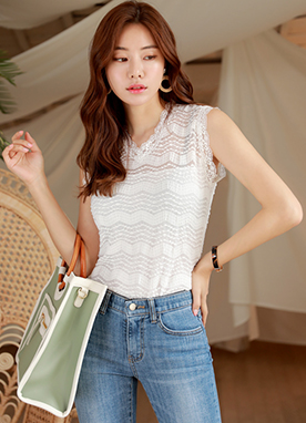 Full Lace V-Neck Sleeveless Tee, Styleonme