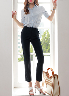 Slim Fit Straight Leg Slacks, Styleonme