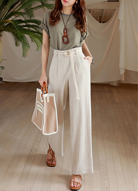 Belt Set Natural Linen Wide Leg Pants, Styleonme