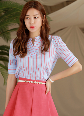 Pinstripe Short Sleeve V-Neck Shirt, Styleonme