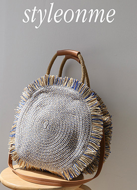 Blue Summer Rattan Round Bag, Styleonme