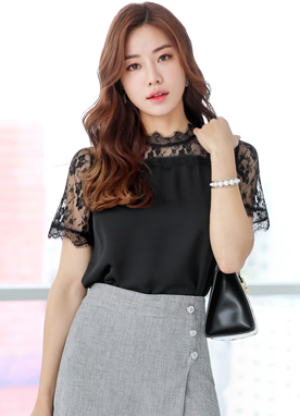 See-through Lace Detail Blouse, Styleonme