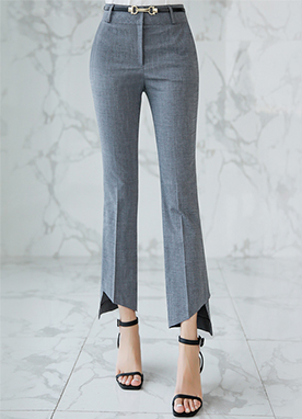 Diagonal Cut Hem Slim Boot-Cut Slacks, Styleonme