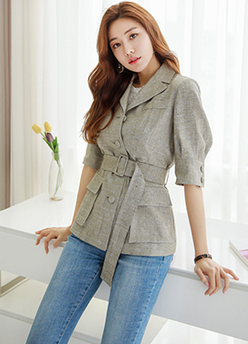 Pocket Accent Collared Blouse Jacket, Styleonme