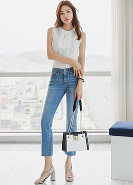 Cotton Lace Sleevless Tee, Styleonme