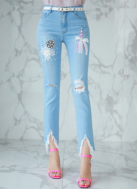 Pearl Accent Eiffel Patch Boot-Cut Jeans, Styleonme