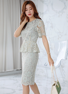 Full Lace Peplum Dress, Styleonme