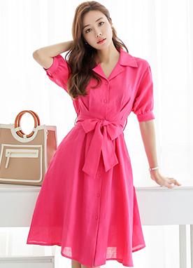 Bright Color Collared Shirt Dress, Styleonme