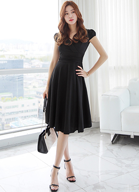 Shirred Flared Dress, Styleonme