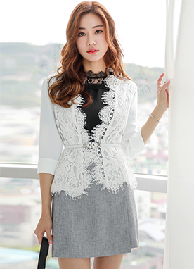Scallop Lace Belt Set Jacket, Styleonme