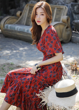 Floral Print V-Neck Maxi Dress, Styleonme