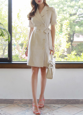 Linen Puff Sleeve Collared Dress, Styleonme