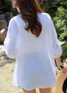 Sheer Pinstripe Collared Shirt, Styleonme