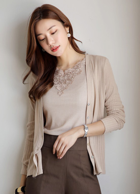 Ribbed V-Neck Cardigan, Styleonme
