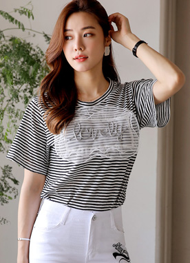 LOVELY Stripe Round Neck Tee, Styleonme