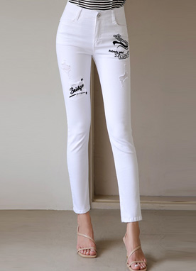 Patch Detail Cotton Skinny Pants, Styleonme