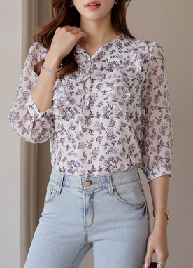 Floral Print Frill Ribbon Tie Blouse, Styleonme