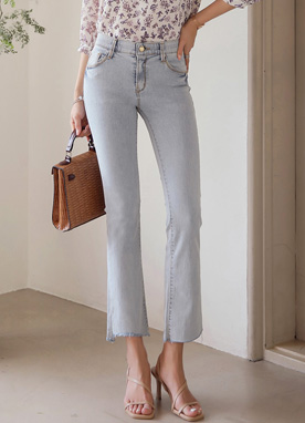 Cut Hem Boot-Cut Jeans, Styleonme