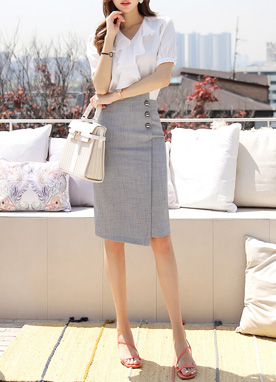Three Button Asymmetrical H-Line Skirt, Styleonme