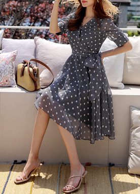 Dot Pattern Puff Sleeve Flared Dress, Styleonme