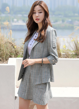 Pinstripe Linen-blend Tailored Jacket, Styleonme