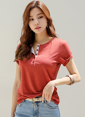 Button Accent Linen-blend Tee, Styleonme