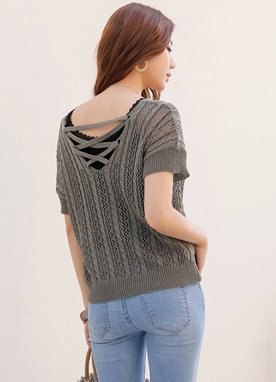 Short Sleeve Cable Knit Top, Styleonme