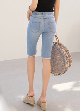 Frayed Hem Bermuda Denim Shorts, Styleonme