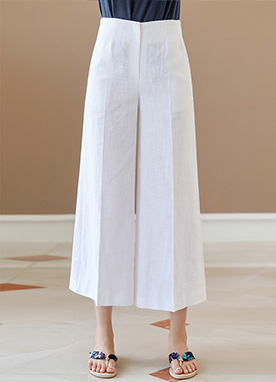 Natural Linen Cropped Wide Leg Pants, Styleonme
