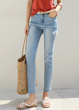 Destroyed Slit Straight Leg Blue Jeans, Styleonme