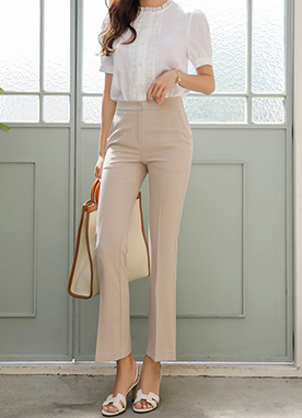 Natural Tone Slim Boot-Cut Slacks, Styleonme