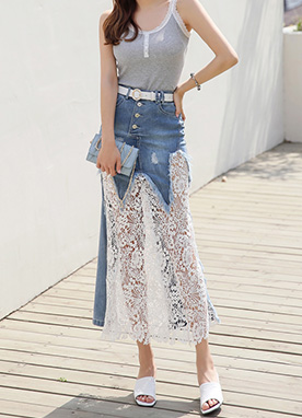 Floral Lace Long Denim Skirt, Styleonme