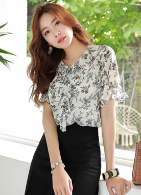 Watercolor Floral Print Ribbon Tie Ruffle Blouse, Styleonme
