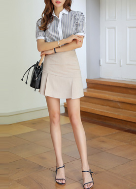 Pleated Hem Mini Skort, Styleonme