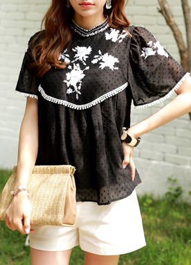 Flower Embroidered Dot Chiffon Blouse, Styleonme