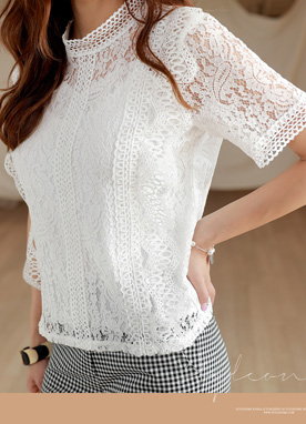 Full Lace Short Sleeve Blouse, Styleonme