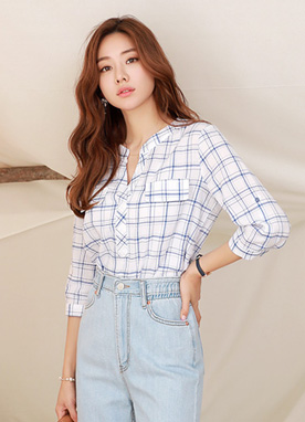 Check Print Roll-Up Sleeve Blouse, Styleonme