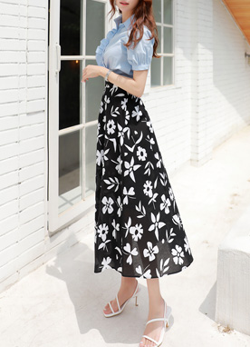 Black and White Floral Print Long Skirt, Styleonme
