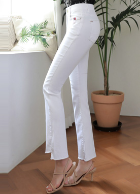 High-Low Hem Embroidered Boot-Cut Pants, Styleonme