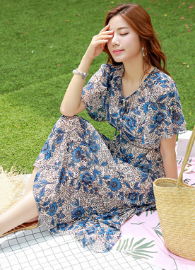 Floral Print Butterfly Sleeve Chiffon Dress, Styleonme