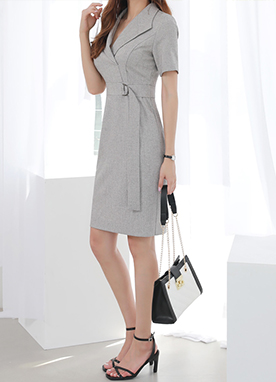 Belt Strap Tailored Dress, Styleonme