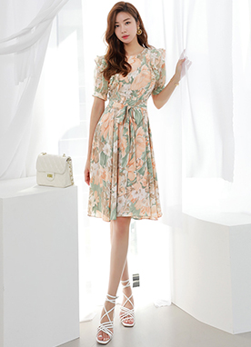 Floral Print Ribbon Tie Ruffle Dress, Styleonme