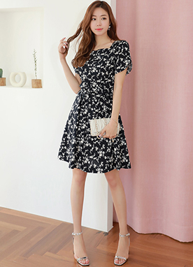 Floral Print Tulip Sleeve Flared Dress, Styleonme