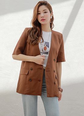 Double-Breasted Half Sleeve Linen Jacket, Styleonme