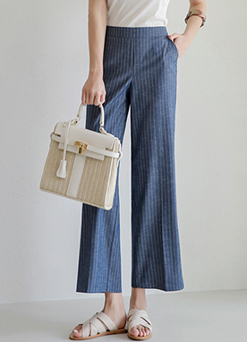 Pinstripe Side Slit Wide Leg Pants, Styleonme