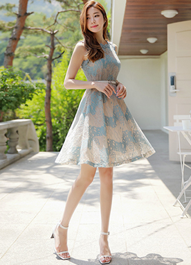 Floral Lace Sleeveless Flared Dress, Styleonme