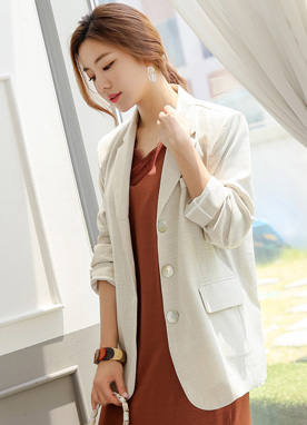 Shell Button Summer Tailored Jacket, Styleonme