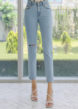 Slit Detail Slim Fit Ankle-length Jeans, Styleonme